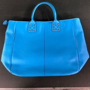 Gap blue leather tote with striped lining
